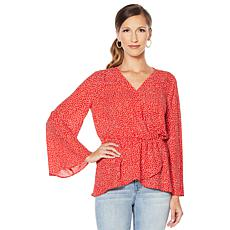 DG2 by Diane Gilman Long Bell Sleeve Crossover Top
