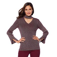 DG2 by Diane Gilman Metallic Mock-Neck Sweater