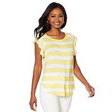 DG2 by Diane Gilman Multi-Stripe Shirttail-Hem Tee