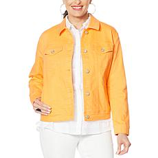 DG2 by Diane Gilman Neon Denim Trucker Jacket