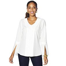 DG2 by Diane Gilman Pearl Embellished Blouse