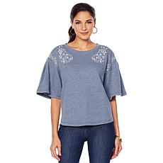 DG2 by Diane Gilman Pleated and Embroidered Bell Sleeve Sweatshirt