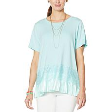 DG2 by Diane Gilman Pleated Peplum Lace-Trim Tee
