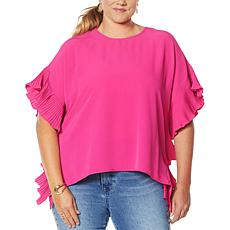 DG2 by Diane Gilman Pleated Poncho Blouse