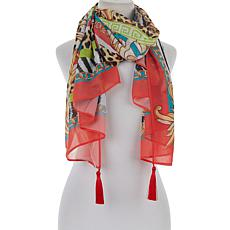 DG2 by Diane Gilman Printed Chiffon Square Scarf with Tassels