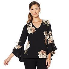 DG2 by Diane Gilman Printed Flare Tie Sleeve Top