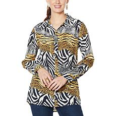 DG2 by Diane Gilman Printed Silk-Blend Buttoned Shirt