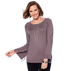DG2 by Diane Gilman Quad-Blend Ruffle-Sleeve Sweater