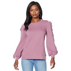 DG2 by Diane Gilman Ruffle Bishop-Sleeve Sweatshirt