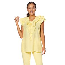 DG2 by Diane Gilman Ruffle Tie-Front Blouse