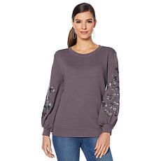 DG2 by Diane Gilman Sequin Embellished Lantern-Sleeve Sweatshirt