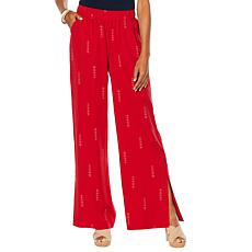 DG2 by Diane Gilman Side-Slit Wide-Leg Pant