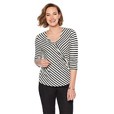 DG2 by Diane Gilman Striped Linen-Blend Top