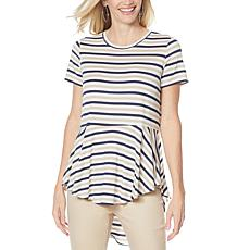 DG2 by Diane Gilman Striped Peplum Drama Top