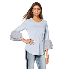 DG2 by Diane Gilman Striped Poplin Double Ruffle Top