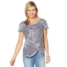 DG2 by Diane Gilman Striped Print Knotted Tee