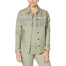 DG2 by Diane Gilman Studded Fringe Jacket