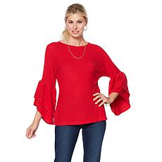 DG2 by Diane Gilman Tiered Ruffle Tri-Blend Sweater