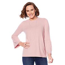 DG2 by Diane Gilman Tri-Blend Open Back Bell-Sleeve Top