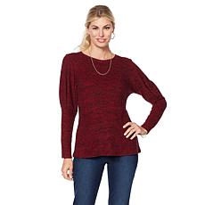 DG2 by Diane Gilman Tri-Blend Top with Pleated Sleeve