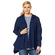 DG2 by Diane Gilman Twill/Knit Combo Draped Jacket