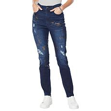 DG2 by Diane Gilman Virtual Stretch Crosshatch Destructed Skinny Jean