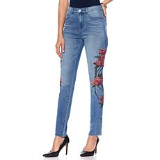 DG2 by Diane Gilman Virtual Stretch Floral Stitched Jean