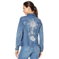 DG2 by Diane Gilman Virtual Stretch Studded Raw-Hem Jean Jacket