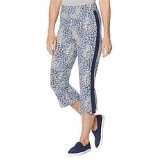 DG2 Downtime Reverse Leopard-Print Terry Cropped Lounge Pant