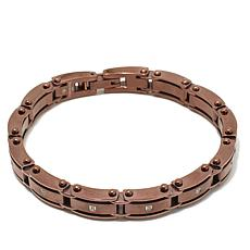 "Diamond-Accent Men's Brown Steel Link 8-1/2"" Bracelet"