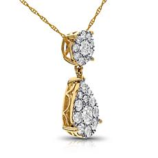 Diamond Couture 14K 1ctw Diamond Round & Pear Pendant