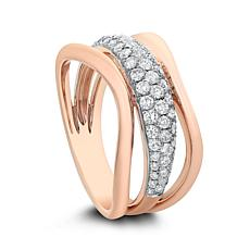 Diamond Couture 14K Gold 0.5ctw Diamond 3-Band Ring