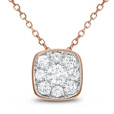 Diamond Couture 14K Gold 0.5ctw Diamond Square Cluster Pendant