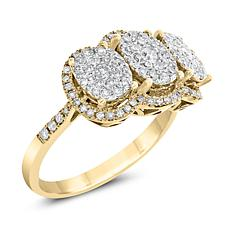 Diamond Couture 14K Gold 0.75ctw Round Cluster Diamond Fashion Ring