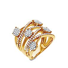 Diamond Couture 14K Gold 1ctw Diamond Overlapping Band