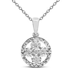 """Diamond Couture 14K Rose and White Gold Flower Pendant with 18"""" Chain"""