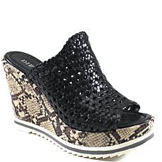 Diba True Harlow Leather Platform Wedge Slide Sandal