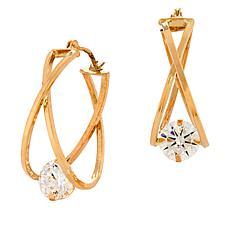 Dieci 10K Gold Cubic Zirconia Captured Stone Crossover Hoop Earrings