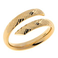 Dieci  10K Gold Diamond-Cut Striped Bypass Ring