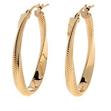 Dieci 10K Gold Textured Twisted Hoop Earrings