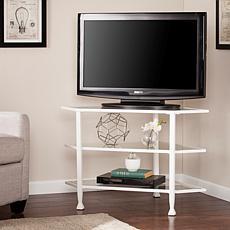 Dina Metal/Glass Corner TV Stand - White