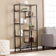 Dina Metal/Glass Étagère Bookcase - Matte Black