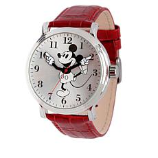 Disney Black-and-White Mickey Mouse Red Leather Watch