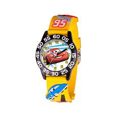 Disney Cars Kid's Black Bezel Yellow Strap Time-Teacher Watch
