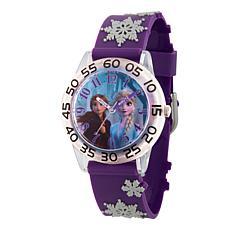 Disney Frozen 2 Elsa and Anna Kids' Plastic Watch w/ Purple 3-D Strap