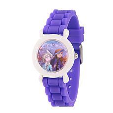 Disney Frozen 2 Elsa and Anna Kids' Time Teacher Purple Strap Watch