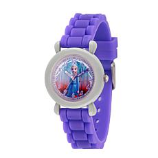 Disney Frozen 2 Elsa Kids' Gray Time Teacher Watch with Purple Strap