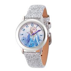 Disney Frozen 2 Elsa Kids' Stainless Steel Leather Glitter Watch