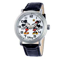 Disney Mickey & Minnie Silvertone Black Leather Watch