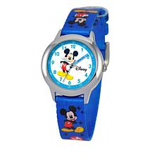 Disney Mickey Mouse Kid's Time-Teacher Watch w/Rotating Bezel - Blue